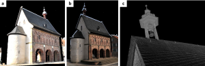 True color point clouds from SE (a), NW (b) and detail of the point cloud colored by reflectance values (c).