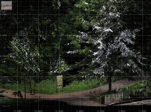 Scanning trees in the Botanical Garden of Heidelberg University for deriving tree parameters.