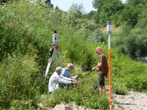 Gathering the fourth data set of a gravel bar for analyzing the annual fluvial dynamics within four years.