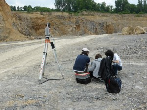 Scanning patches of limestone outcrops for detecting geological layers.