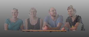 Point cloud of some participants captured with the low-cost structured light sensor Kinect