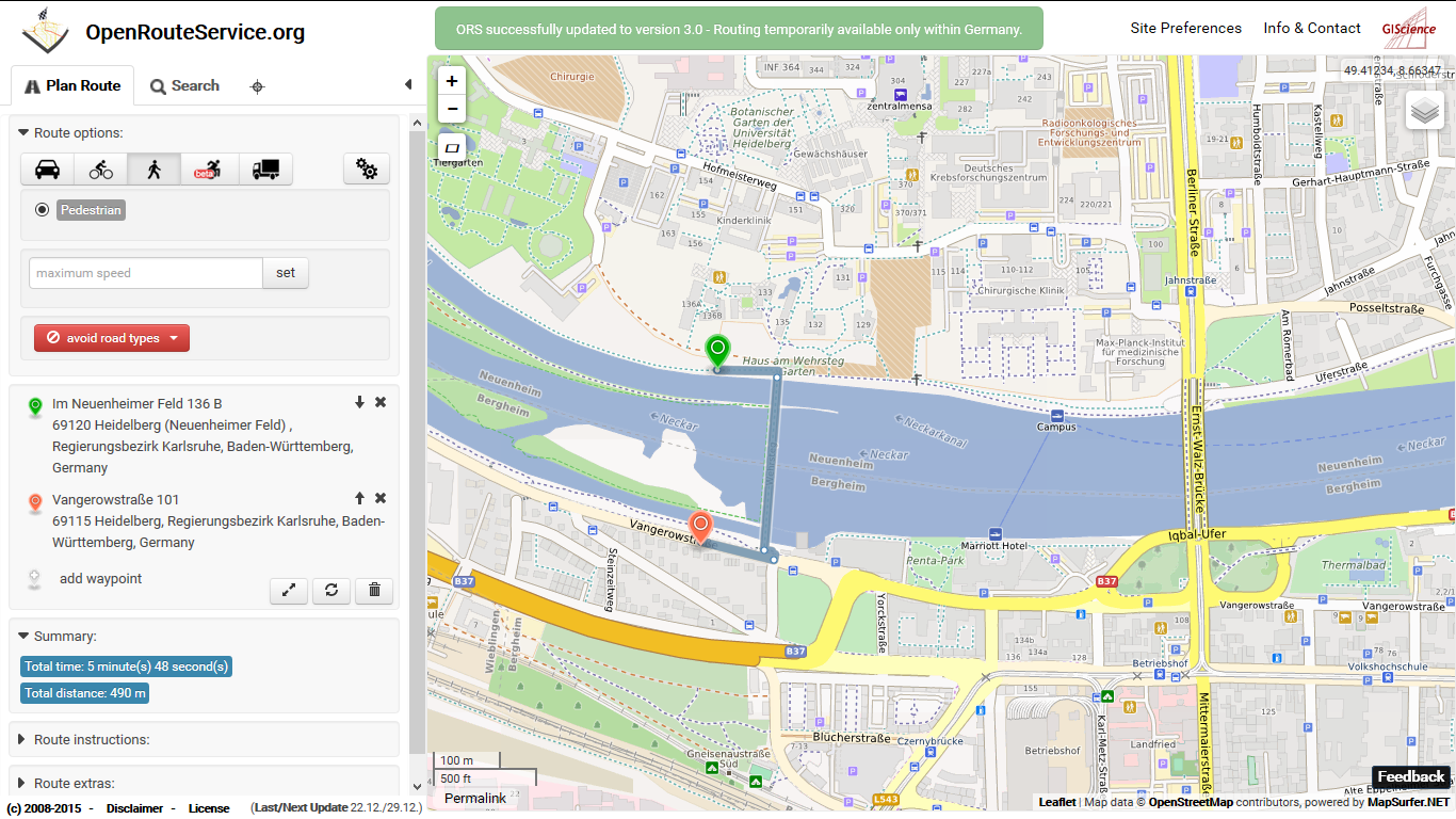 New OpenRouteService now with live traffic data, improved