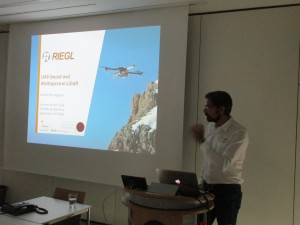 Dr. Pfennigbauer (Riegl Laser Measurement Systems GmbH) giving an introduction to the latest sensor and platform developments (permission granted)