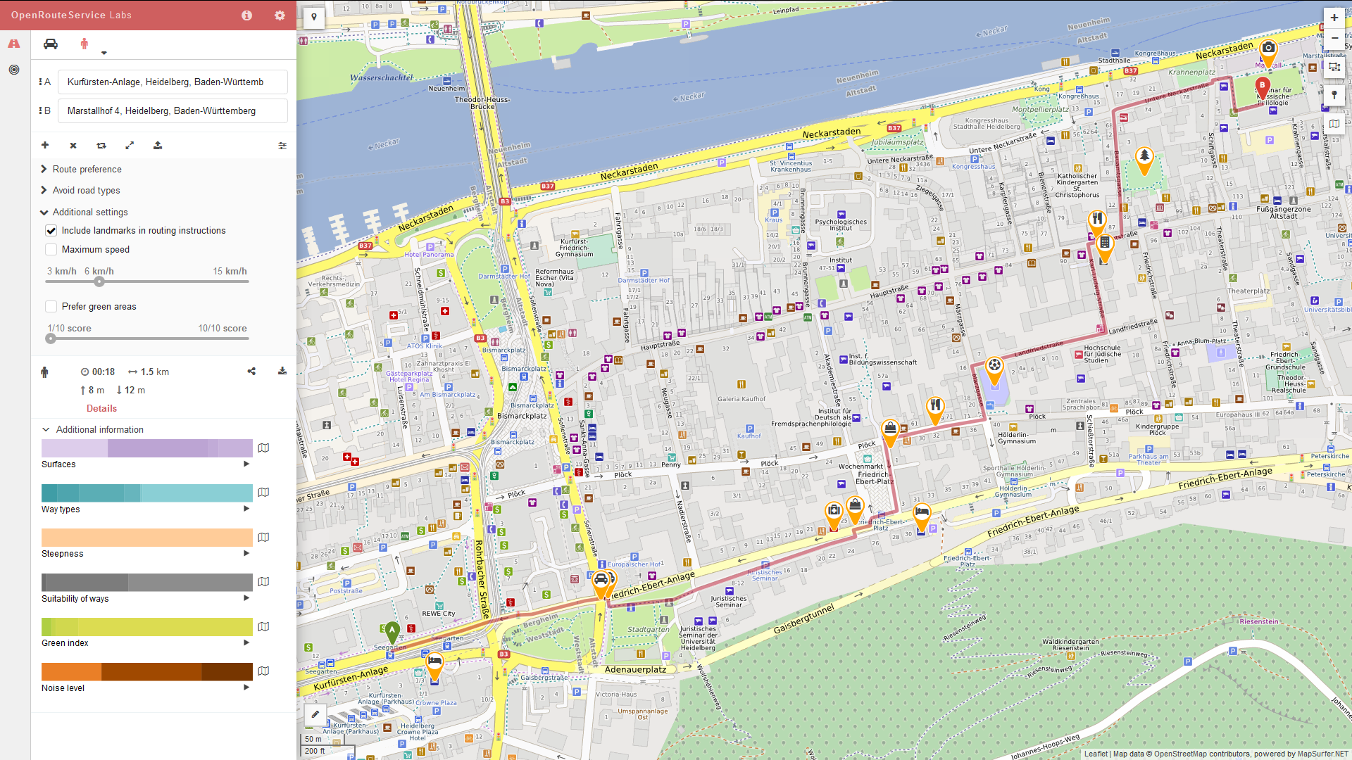A route generated from OpenRouteService showing landmarks for key decision points