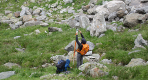 "Setting up a local surveying system at the rock glacier ""Äußeres Hochebenkar""."