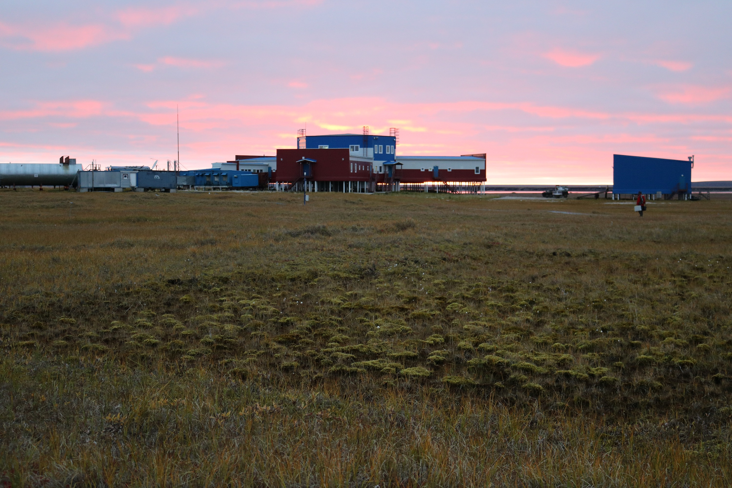 Samoylov research station in the sunset