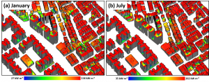 Exemplary estimations of the solar potential on roofs in Tainan. (a) Monthly sum of solar irradiation for January, (b) Monthly sum of solar irradiation for July.