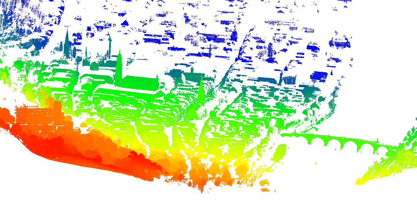 Resulting 3D point cloud of the old town in Heidelberg (coloured by range).