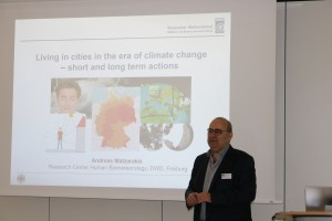 Prof. Andreas Matzarakis (University of Freiburg and German Meteorological Service) giving a talk about short term and long term actions in cities in the era of climate change.