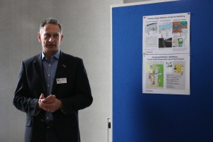 Raino Winkler (City of Heidelberg, Environment Department) presenting a poster on climate change adaption strategies in the city of Heidelberg.