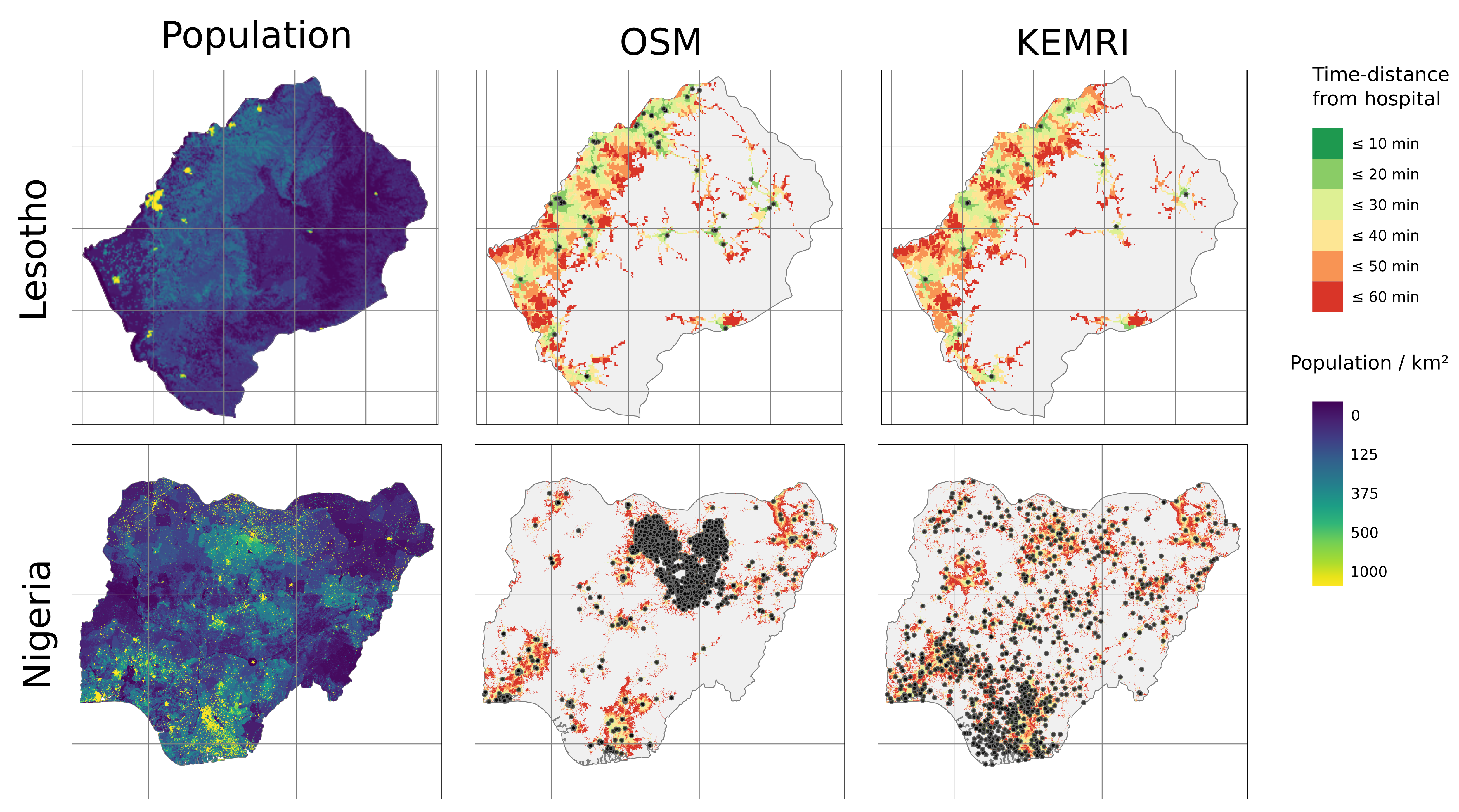 Figure 3 Maps on distribution of population, time-distance from hospitals and hospital locations for OSM and KEMRI.