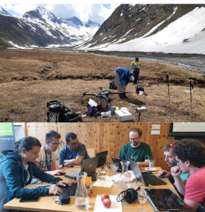 For assignments all sensors and platforms have to be carried to the field site of interest (top), sensors on hand-held, terrestrial  and  UAV-platforms have  been  studied  (top)  and finally  data  has  been  processed  and  analysed  by  participants (bottom).