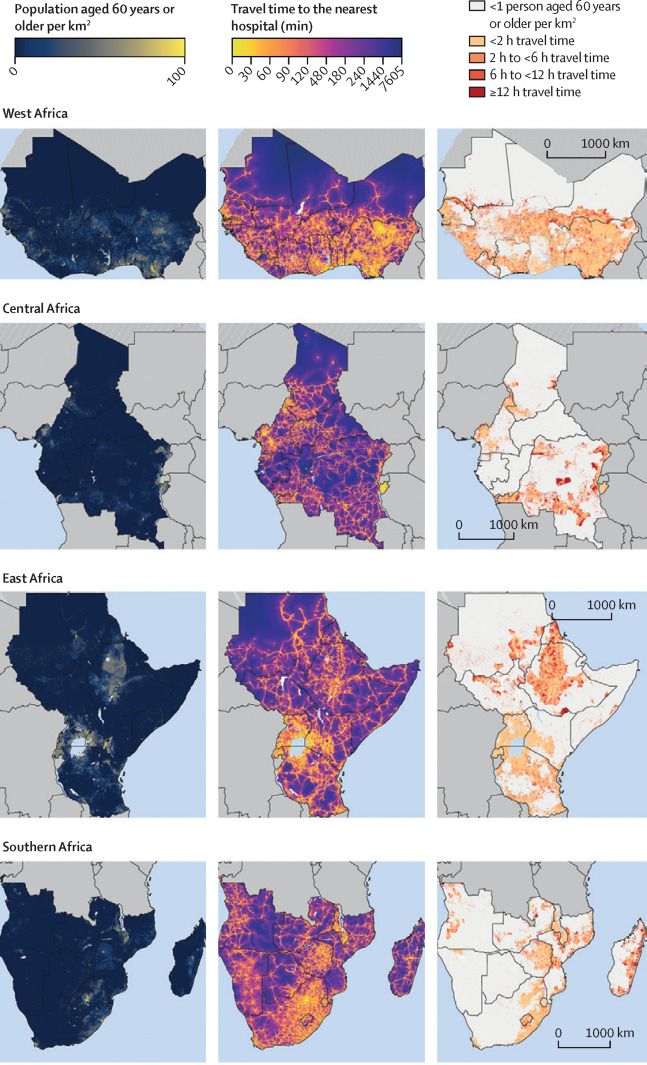 Maps showing population density and travel time to the nearest hospital for adults aged 60 years or  older, by sub-Saharan African region