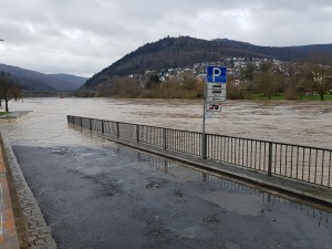 Flooded parking area in Eberbach in 2019