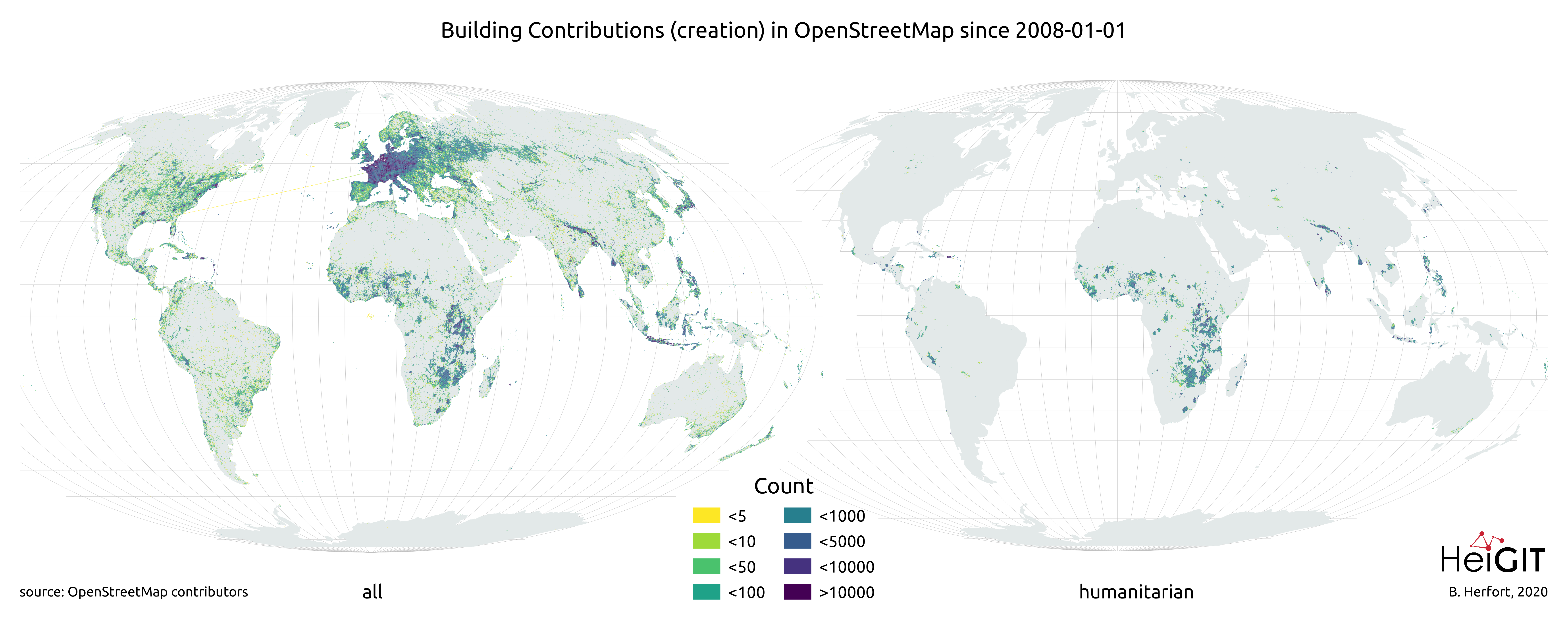 Map of Overall and Humanitarian Building Mapping in OSM since 2008