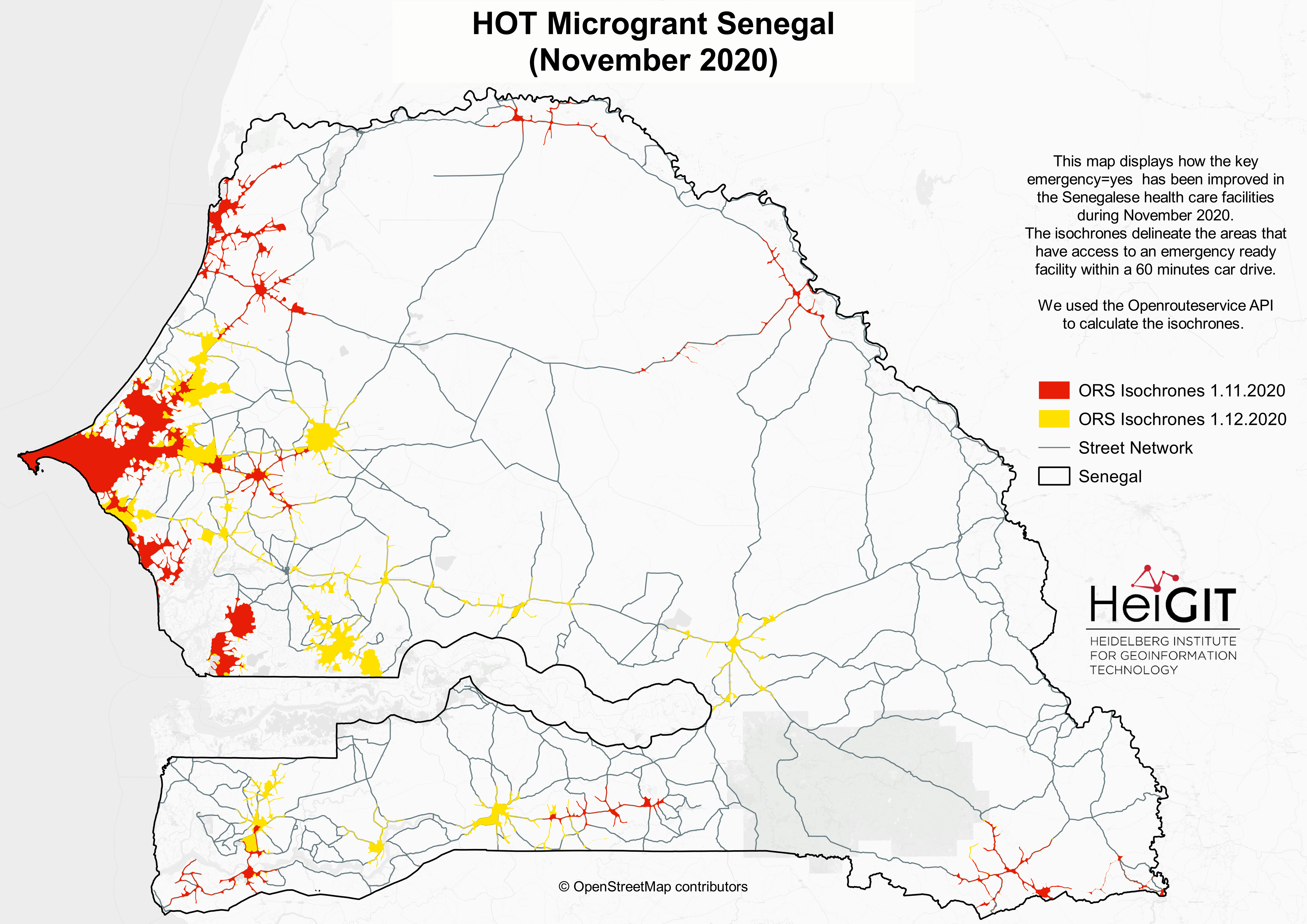 Accessibility map for health care facilities that bear an emergency tag in Senegal. Area covered by car access under 60 minutes are red for the state of November and yellow for the state of December 2020.