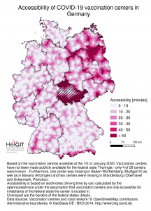 The map shows the driving distance to the next vaccination center. State boundaries were considered as barriers for this analysis. The Free State of Thuringia has decided to not make the locations available - therefore the accessibility in this federal state is inaccurate and should not be used.