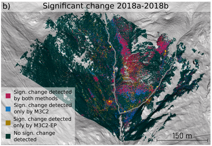 3D  binary  change  maps  for  the  Äußeres  Hochebenkar rock glacier. In these difference maps,  yellow  indicates  additional  change,  i.e.  change  discovered by our method, but not by the baseline,  and  red  represents  change  discovered  by  both  the  baseline  and  our  method.  Green  represents  areas  where  no  change  was  detected  as  significant.  Blue  points  show  where  change  was  detected  by  the  baseline only.